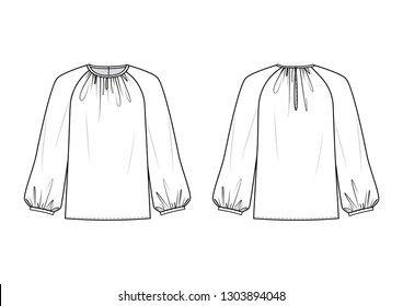 Technical drawing of blouse