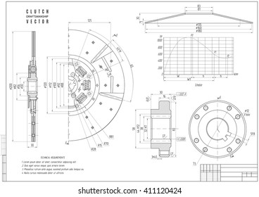 technical drawing of the car clutch, construction draft or project with horizontal frame isolated on the white background. stock vector illustration
