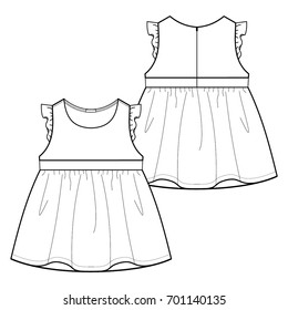 Technical drawing of children's dress
