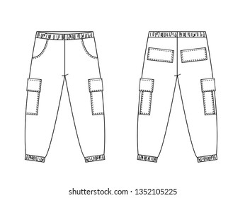 Technical drawing of children's fashion. Cargo pants with patch pockets for kids. Front and back views
