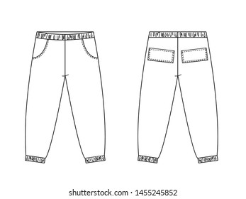 Technical drawing of children's fashion. Cargo pants with patch pockets for kids. Front and back views.