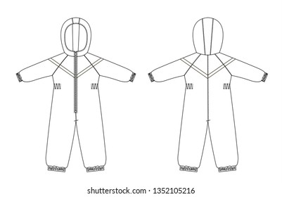 technical drawing of children's winter overall with raglan sleeves