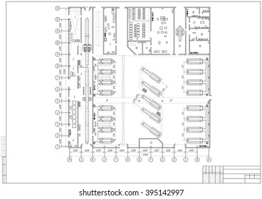 technical drawing, design of an architectural plan or project, construction draft isolated on the white background. stock vector illustration