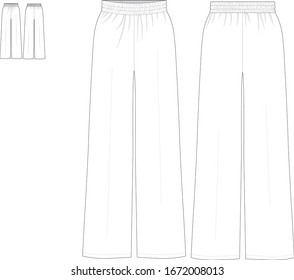 Technical drawing fashion flat of women track pants front and back view