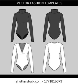 technical drawing fashion flat of women bodysuit with long sleeve front and back view