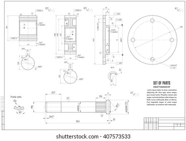 technical drawing gears and shaft, construction draft with horizontal frame on the white background. stock vector illustration eps10