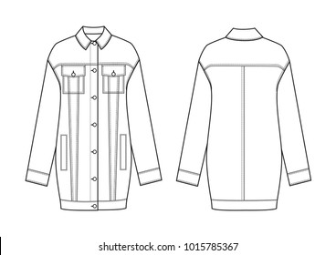 technical drawing of jeans jacket