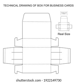 technical drawing to make box for business cards and presentation cards
