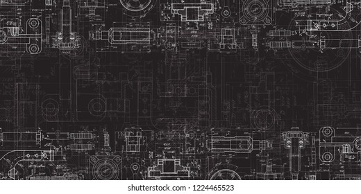 Technical Drawing on a black background.Mechanical Engineering drawing
