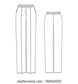 technical drawing of pajama pants