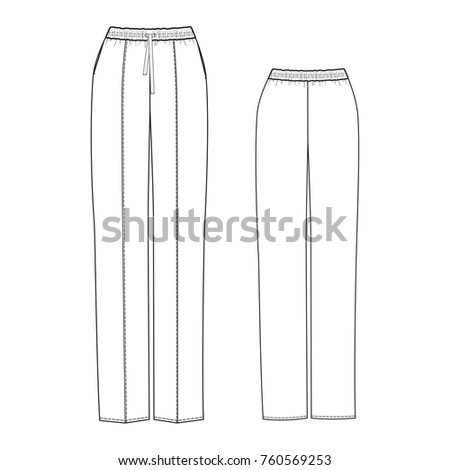 technical drawing pajama pants stock vector royalty free 760569253