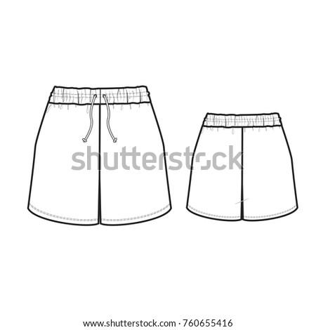 technical drawing pajama shorts stock vector royalty free