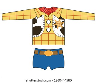 Technical drawing with sheriff cartoon print.