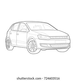 Technical drawing of short car. Vector illustration. Black and White. Lines only