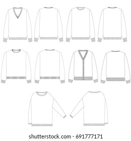 technical drawing sketch set of sweater vector illustration
