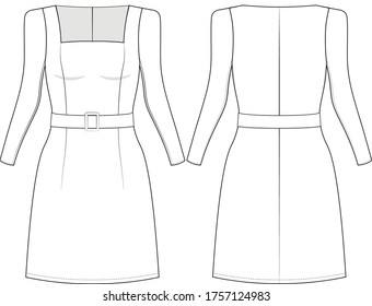 technical drawing for a summer dress with sleaves