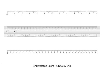 Technical drawing tool. Ruler Graduation. Ruler scale 12 inch and 30,5 cm. Vector illustration.