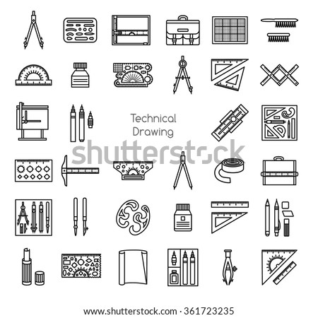 drawing tools drafting technical drawing tools line icons set drafting kit ruler board drawing tools icons set stock vector royalty free