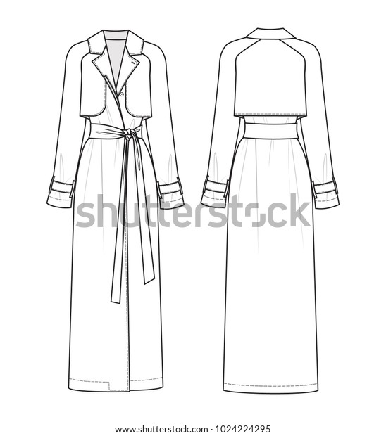 Technical drawing of trench coat