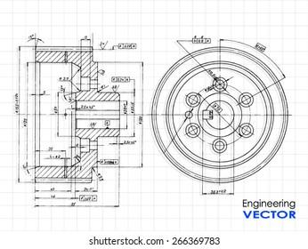 technical drawing wheel / vector illustration