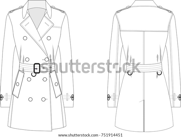 Technical Drawing of Woman's Trench coat