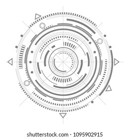Technical drawing.Fantastic circle .Drawing details