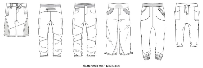 Technical drawings of men's pants and shorts