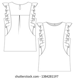 technical flat sketch of blouse with ruffles