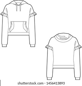 technical flat sketch of a sweatshirt garment for womens fashion with hood and front kangaroo pocket