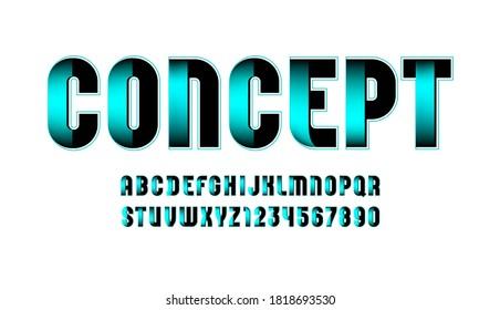 Technical font, digital alphabet, letters (A, B, C, D, E, F, G, H, I, J, K, L, M, N, O, P, Q, R, S, T, U, V, W, X, Y, Z) and numbers (0, 1, 2, 3, 4, 5, 6, 7, 8, 9), vector illustration 10EPS
