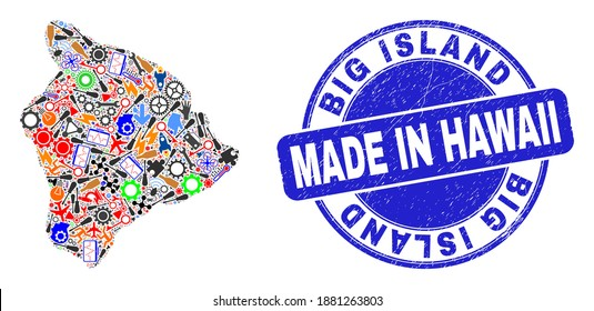 Technical Hawaii Big Island map mosaic and MADE IN scratched rubber stamp. Hawaii Big Island map mosaic designed with wrenches,wheel, tools,items,cars, electric sparks,bugs.