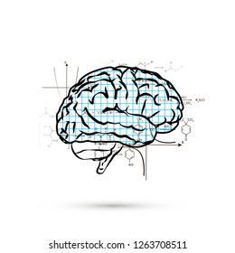 Technical hemisphere of human brain, concept illustration