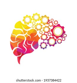 Technical human gears brain vector design. Digital human brain shape with gears idea concept innovation genius.