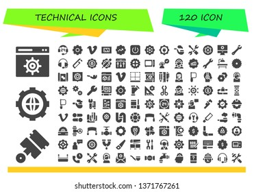 technical icon set. 120 filled technical icons.  Simple modern icons about  - Settings, Pistons, Support, Vimeo, Blueprint, Gear, Power, Pipe, Wrench, Saw, Microwave, Customer service