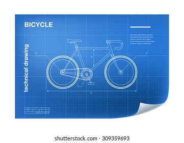 Technical Illustration with bicycle drawing on the blueprint