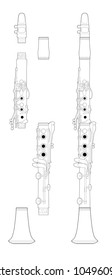 Technical Illustration of a clarinet assembled and unassembled.