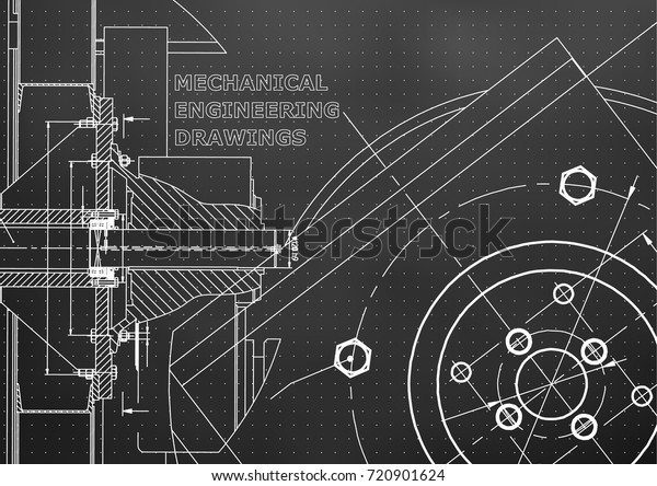 Technical Illustration Mechanical Engineering Background Black Stock