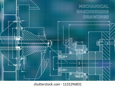 Technical illustration. Mechanical engineering. Backgrounds of engineering subjects. Technical design. Instrument making. Cover. Blue background. Grid