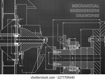 Technical illustration. Mechanical engineering. Backgrounds of engineering subjects. Technical design. Instrument making. Cover. Black background. Grid