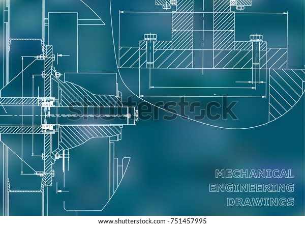 Technical Illustration Mechanical Engineering Backgrounds Engineering Stock Vector  Royalty Free