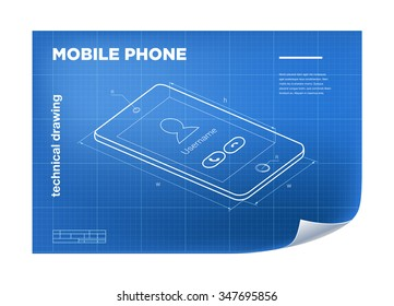 Technical Illustration with mobile phone drawing on the blueprint.