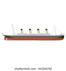 Technical illustration of an old vintage steam cruise ship with multiple smoke stacks. Profile view shows the keel, propellers and rudder.
