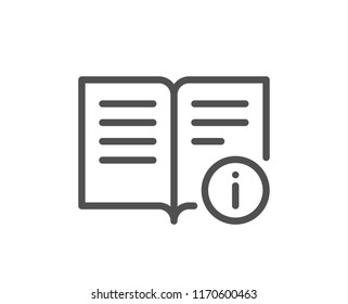 Technical information line icon. Instruction sign. Quality design element. Classic style information book icon. Editable stroke. Vector