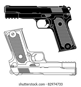 Technical line drawing of a 9mm pistol handgun.Precise lines.Shape isn't distinct to a particular manufacturer.Symbolizes danger,killing,violence,military,self defense, protection, or firearms.Vector.