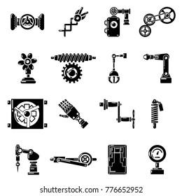 Technical mechanisms icons set. Simple illustration of 16 technical mechanisms vector icons for web