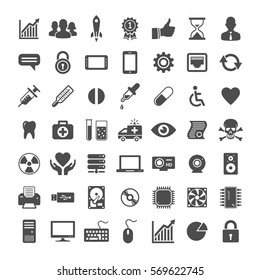 Technical and medicine startup universal icons. Icon set for website and app. Vector illustration