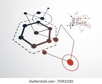 Technical plan, abstract engineering draft for use in graphic and web design. Vector drawing of industrial system created with lines and circles. Artistic graphic illustration.