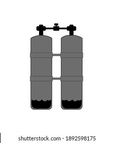 Technical scuba dive twin tank vector illustration graphic for info graphic elements