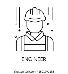 Technical service or engineer isolated outline icon vector. Male person or worker avatar, engineering support, man in hardhat lineart symbol. Builder or construction works employee, technician