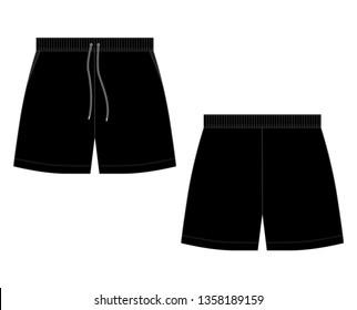 Technical sketch black sport shorts pants design template. Fashion vector illustration on white background